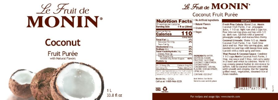 Monin Coconut Puree label