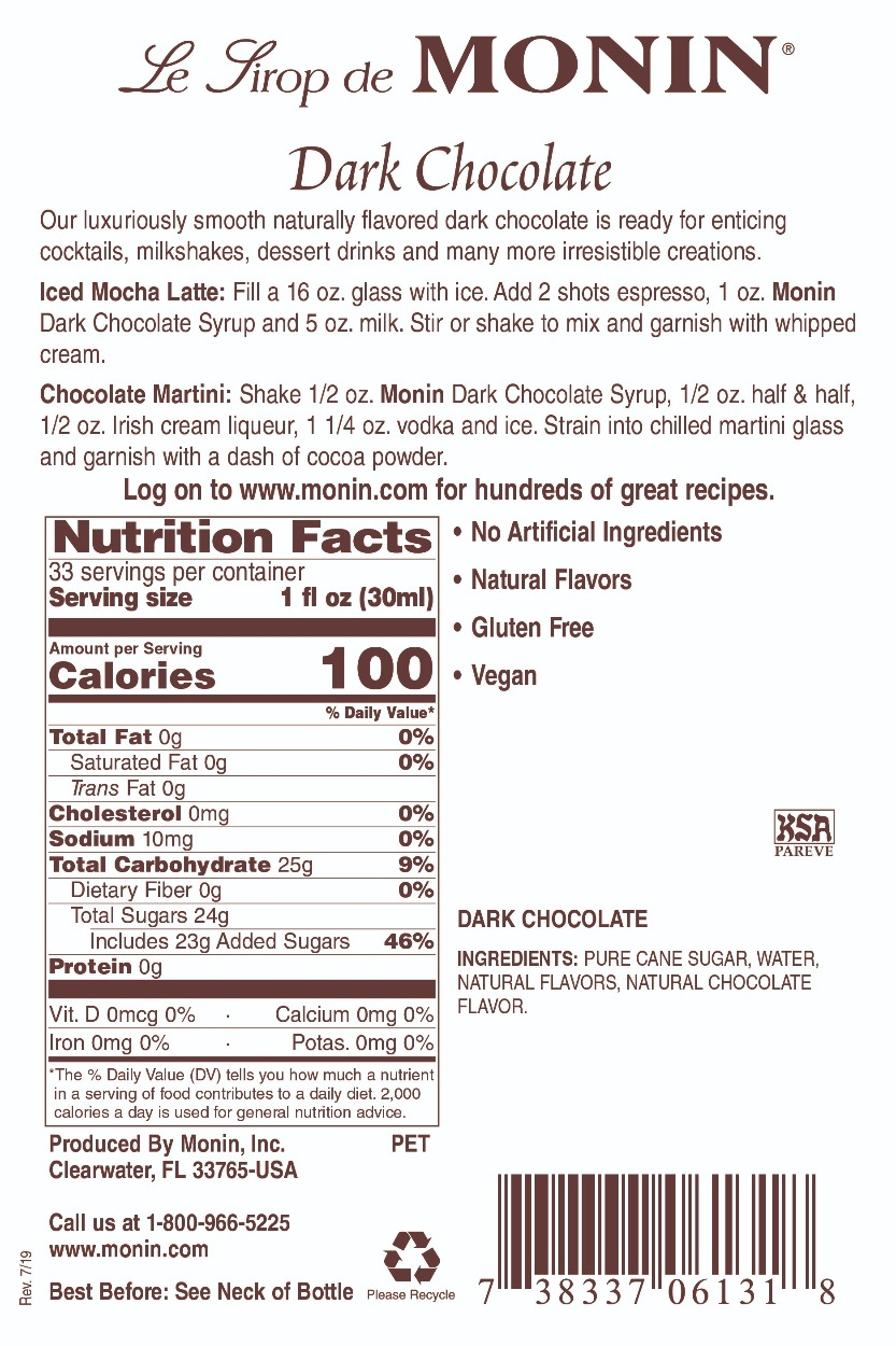Monin Dark Chocolate label