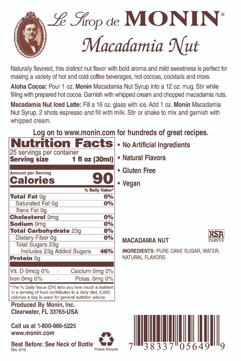 Monin Macadamia Nut Label