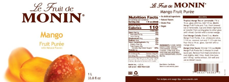 Monin Mango Puree label