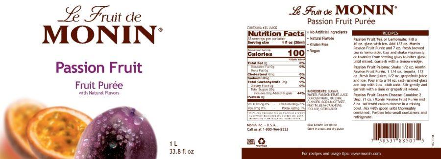 Monin Passion Fruit Puree label