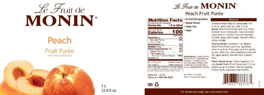 Monin Peach Puree label