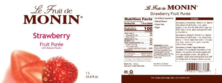 Monin Strawberry puree label