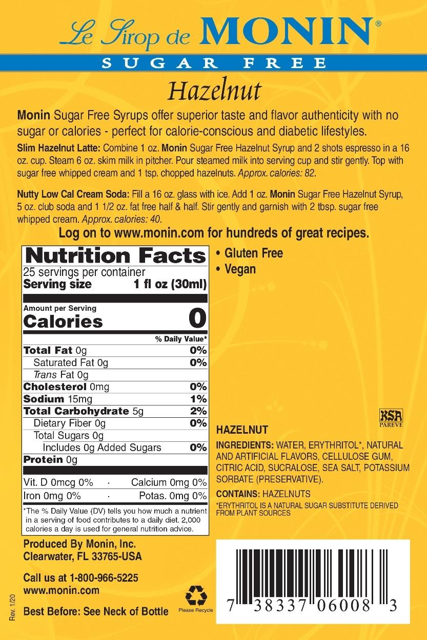 Monin Sugar Free Hazelnut syrup label