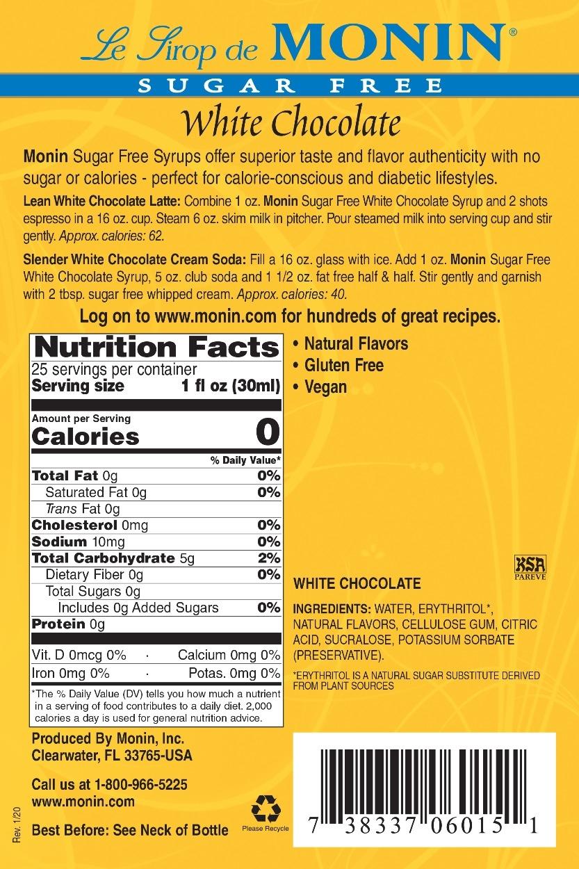 Monin Sugar Free White Chocolate syrup label