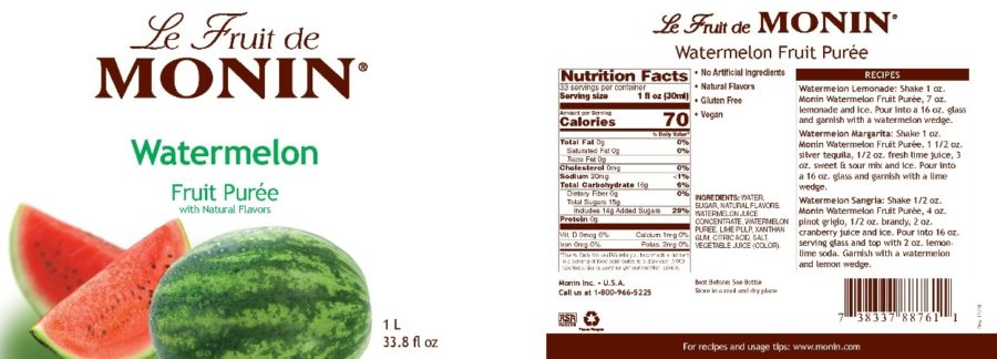 Monin Watermelon puree label