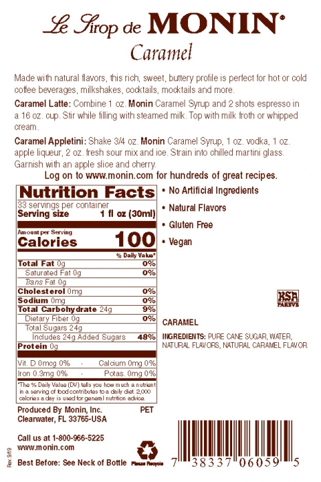 Monin Caramel Label