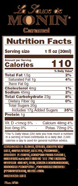 Monin Caramel Sauce label