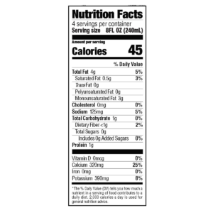 milkadamia unsweetened nutrition