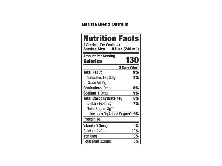 Califia Farms Oat Barista Blend Nutrition