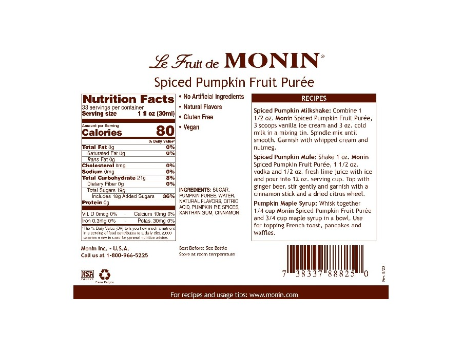 Monin Spiced Pumpkin Puree label